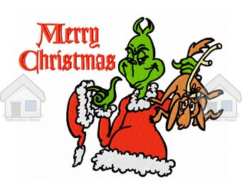 "Green Goblin With Puppy Christmas  Fully Embroidery Design 4 sizes ""Instant download"""