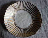 Large Striped Plate with Pure Gold Overglaze