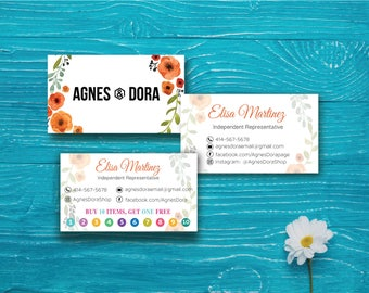 Agnes and Dora Business Card - Agnes and Dora Punch Card, Agnes Dora Business Card, Agnes Dora Marketing, Buy 10 Get 1 Free, Printable