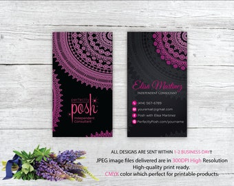 Perfectly Posh Business Cards, Perfectly Posh Mandala Style Card, Printable Digital Printed, Personalized Cards PO02