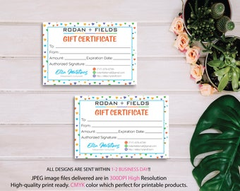 Rodan and Fields Gift Certificate, Fast Personalized, Rodan + Fields Gift Cards, Rodan and Fields Business Cards, Digital files RF16