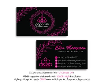 Paparazzi Business Cards, PERSONALIZED Paparazzi Business Card, Floral Flower Cards, Free Personalization, Printable Business Card PP21