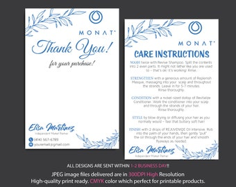 Monat Thank you cards, Monat Care Instruction, Monat Care Card, Fast Free Personalization, Custom Monat Hair Care Card, Printable file MN27