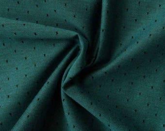 Chambray fabric with dots Dark lagoon