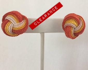 CLEARANCE Love Knot Mesh Ribbon (Orange Yellow White) Pierced Vintage Earrings