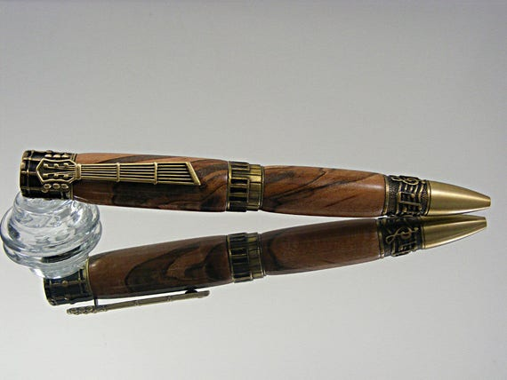 Music Themed Ink Pen in Antique Brass and Ambrosia Maple