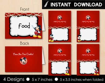 Instant Download - Mickey Mouse Food Tent Labels Label Food Tents Baby Shower First Birthday 1st Birthday Party Printable DIY - Digital File