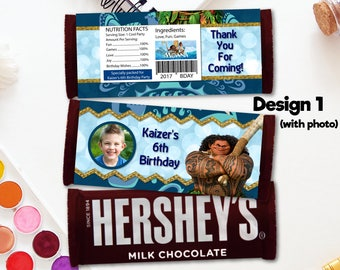 Personalized Maui of Moana Hershey's Chocolate Bar Wrapper Photo Picture Blue Tribal Design Birthday Party Favors DIY - Digital File