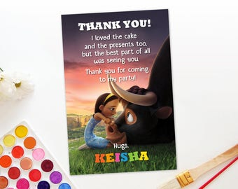 Personalized Ferdinand The Bull Thank You Card Birthday Party Sunset Nina DIY Printable - Digital File