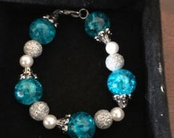 Baby/Toddler/Child Blue white and silver Beaded bracelet