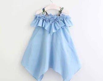Light Blue Off Shoulder dress - Flower Girl Off Shoulder Dress - Thin Cotton Summer Dress - Dress To Impress