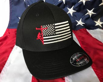 Any colors, Lineman flag embroidered hat, lineman baseball cap, lineman, custom baseball cap