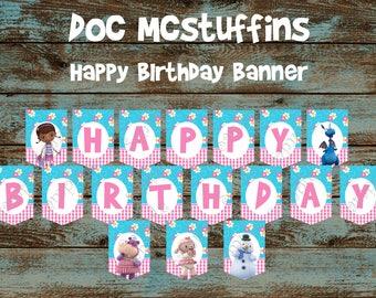 Doc Mcstuffins Banner, Doc Mcstuffins Decorations, Doc Mcstuffins Birthday Party, Doc Mcstuffins Party Supplies, Doc Mcstuffins Printables