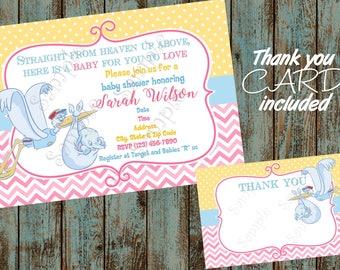 Dumbo Baby Shower Invitation, Dumbo Invitation, Dinsey Dumbo Invitation, Dumbo Printable Invitation, Circus Dumbo Baby Shower Invitation