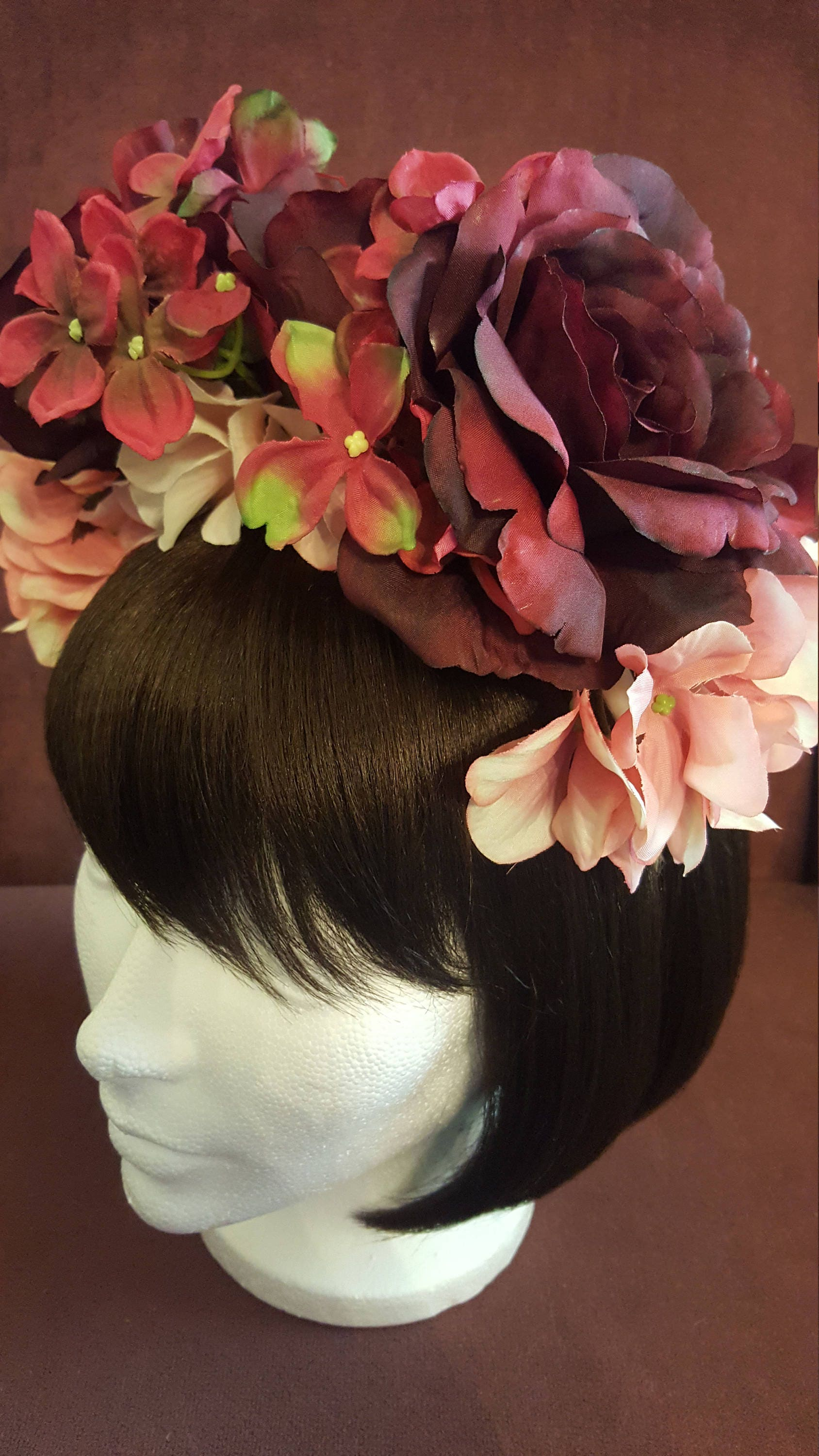 Red and pink floral headpiece flower headband flower crown red red and pink floral headpiece flower headband flower crown red and pink flower izmirmasajfo