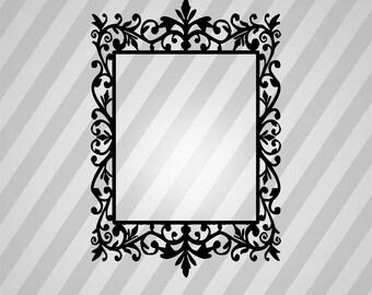 Decorative Floral Frame Silhouette - Svg Dxf Eps Silhouette Rld RDWorks Pdf Png AI Files Digital Cut Vector File Svg File Cricut Laser Cut