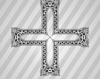 Cross Silhouette - Dxf, Svg, Eps, Rld, Rdworks, Pdf, Png And Ai Print Files, Digital Cut, Vector File, Svg File