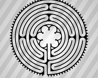 Chartres cathedral labyrinth - Svg Dxf Eps Silhouette Rld RDWorks Pdf Png AI Files Digital Cut Vector File Svg File Cricut Laser Cut