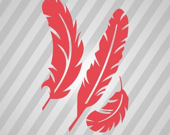 Feathers Silhouette -  Svg Dxf Eps Rld Rdworks Pdf Png Ai Files Digital Cut Vector File Svg File Cricut Laser Cut