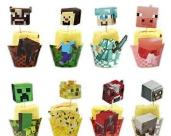 16 Sets Minecraft Inspired Cupcake Topper & Holder ~Birthday Cake Decorations