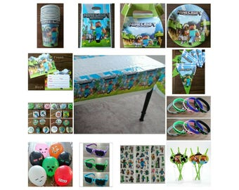 Minecraft Birthday Party Supplies Cups Plates Tablecover Invitations Pins Balloons Glasses Stickers Straws Banner Bracelets Favors Bags