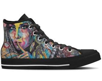 Women's High Top Sneaker with Chalk Design 'Hush' - Multicolored/Black