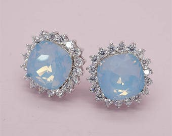 Blue Opal Earrings, Blue Crystal Studs Earrings, Blue Bridesmaids Earrings with Swarovski Crystals, Bridesmaids Jewelry, Gift for her