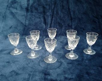 Beautiful set of 8 small cut crystal liqueur / shot glasses