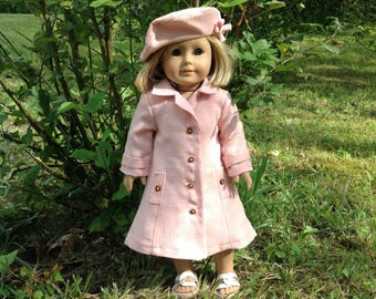 "Long Linen Spring or Summer Coat for 18"" Dolls like American Girl, Maplelea etc"