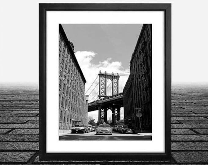 Brooklyn Bridge Dumbo Streets, New York City Black & White Photo print 11x14, Framed in 14x18 black flat wood frame, Framed photo print