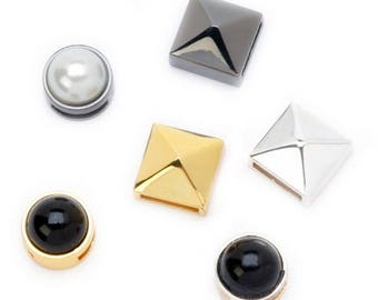 Metallic Pearl and Stud Sliders - Metallic Mix - 6 pieces