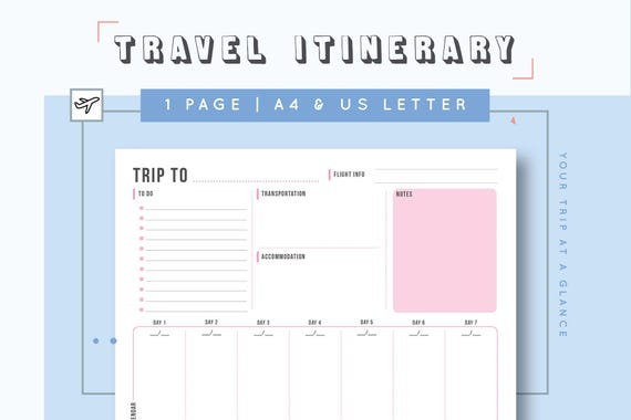 professional travel itinerary template