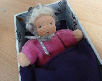 Waldorfpuppe, rag doll, baby doll, pink, pink, schooling, gift for girls, doll bed, kindergarten, Nicki doll, Pocket doll,