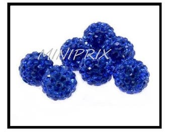 X 10 pearls shamballa 10mm, electric blue rhinestone crystal.