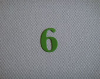 "Set of 10 numbers ""6"" in pale green drawing to create paper"