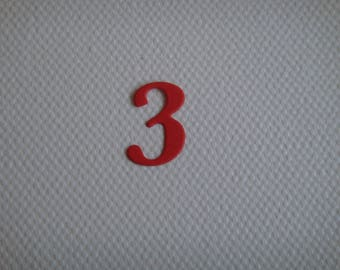 """Set of 10 numbers """"3"""" in red design for creating paper"""