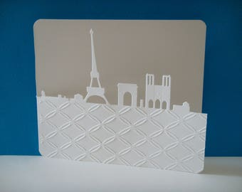 Map of Paris embossed with white wire