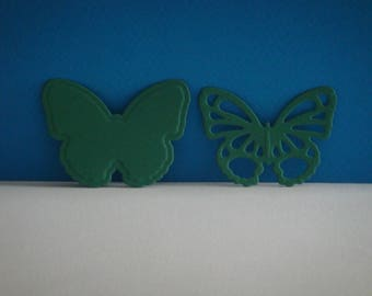 Cut green 2 butterflies set of 4 cm height
