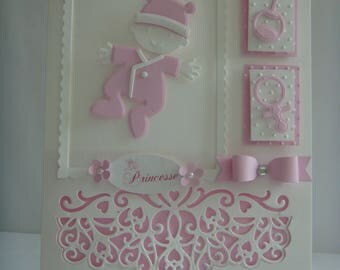 Kit card lined baby girl pink and white make you even
