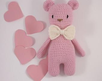 Pink bow bear crochet bow