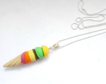 multicolored ice cream cone necklace