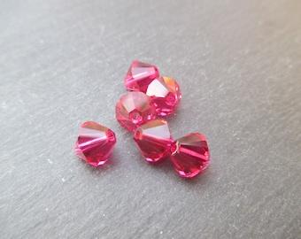 8 mm: 2 Swarovski Crystal bicone bead Ruby - Red