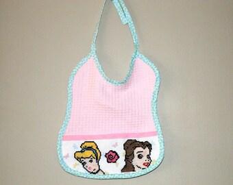 Princess theme embroidered pink Terry bib