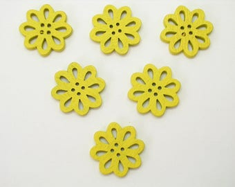 SET of 6 wood buttons: flower Lacy yellow 20mm