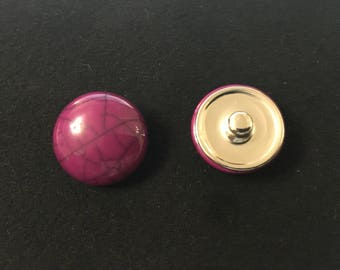 Snap jewelry cabochon purple ribbed black 5.5 mm head