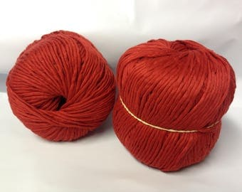Knitting / 10 balls of cotton matte red color - made in FRANCE