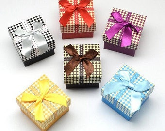 set of 6 boxes jewelry boxes gingham checkered bow ring or earrings new