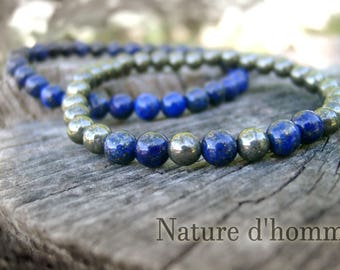 A duo of bracelets made of lapis lazuli and pyrite Ref: BN-228