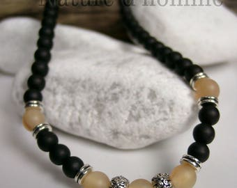 Necklace man Horn and matte black onyx Ref: RC-010