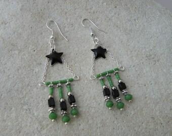 Ethnic earrings black enamel star